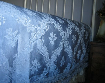 Beautiful Vintage 1930's 1940's Silk Soft Blue Damask Bedspread Bedcover Coverlet with Fringe ~ Double - Queen