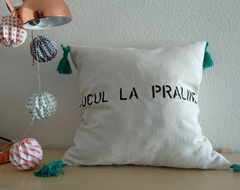 Cover cushion 40 x 40 organic cotton and colorful pom-poms