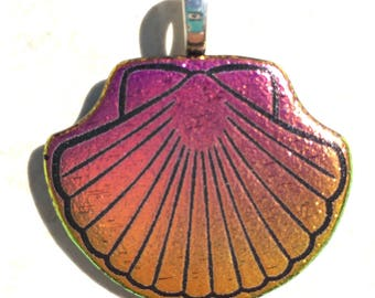 Dichroic Fused Glass Pendant - Pink Yellow Scallop Shell Laser Engraved Etched Pendant