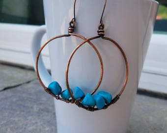 Large antiqued copper hoops that feature aquamarine beads in the center. Free Shipping