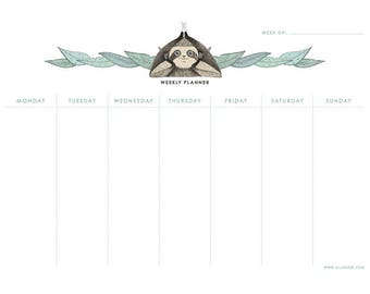 A4 Sloth's Printable Weekly Planner