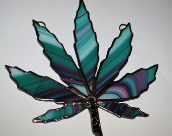 Stained Glass limited edition Marijuanna Leaf suncatcher