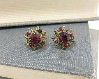 Red Austrian Crystal Screw Back Earrings