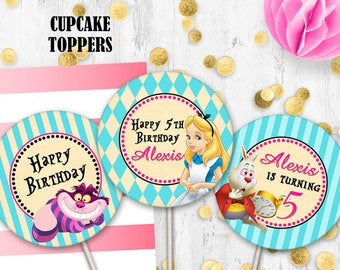 Alice in Wonderland Cupcake Toppers Birthday Cake toppers Disney Alice