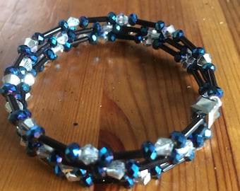 Silver, Blue & Black Memory Wire Bracelet