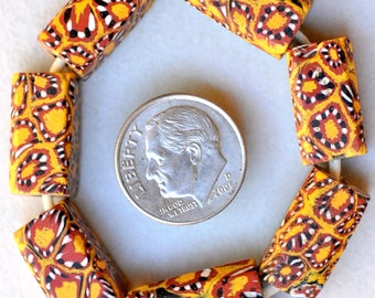 7 Old Yellow Rectangular Venetian Millefiori Beads - Vintage African Trade Beads - #7140