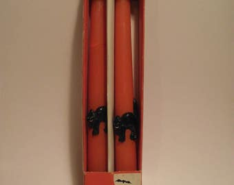 """One pair of Vintage Halloween Candles 10"""" tapers orange with black cats"""