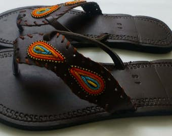 Beaded leather sandals