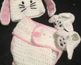 Bunny diaper cover, hat and booties set