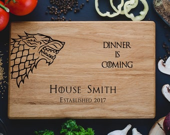 Game of Thrones Cutting Board,House Stark Dire Wolf,Dinner is coming,Custom cutting boards,Anniversary Gifts,monogram cutting board