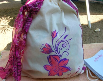 cotton backpack pink flowers