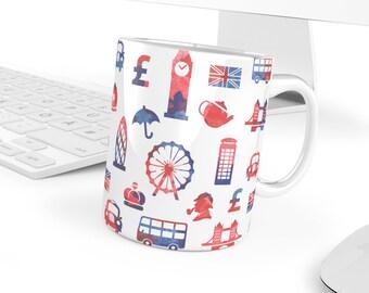 London Mug | London Gift | London Souvenir | London Symbols | London Pattern - Gift for Her or Him - 11 oz