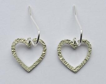 Heart earrings, silver heart earrings, sterling silver earrings, heart jewellery, silver hearts