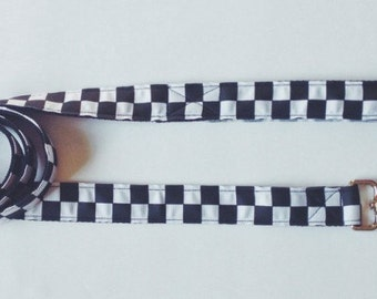 The Classic | Dog Leash. Black and White Checkers Dog Leash