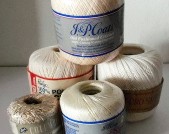 Crochet Thread Lot of 5 in Neutral Colors