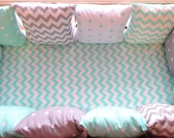 Baby bedding,bumper, set bumper,Baby bedding set,baby bedding turquoise, bumper turquoise