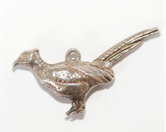 Vintage Sterling Silver Bracelet Charm Pheasant Quail Partridge Bird (2.3g)