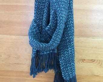 Merino Hand Spun and Hand Woven Scarf, Blue and Teal. Next to Skin Softness