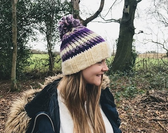 Chunky Purple Striped Cosy Knitted Bobble Hat