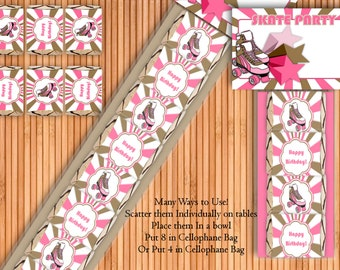 Girl Skating - Birthday Party Printable Hershey Nugget Wrappers Kit - Instant Download