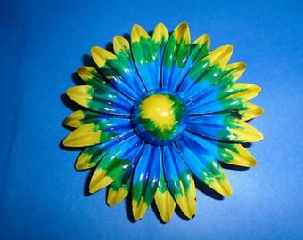 Groovy Tie Dyed Enamel Flower Pin/Brooch