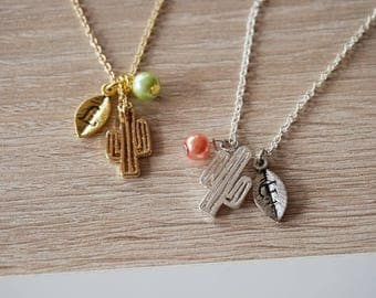 Cactus tropical, gold plated 18 k necklace, silver plated, necklace design trend