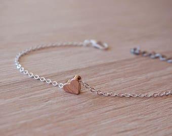 Heart bracelet, silver plated, gold rose pink gold - witness - bridesmaid gift - design trend