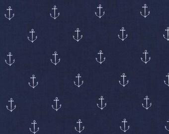 Navy anchor fabric -Michael Miller -Anchors Away fabric -cotton anchor fabric -Michael Miller fabric -anchor fabric -quilting cotton