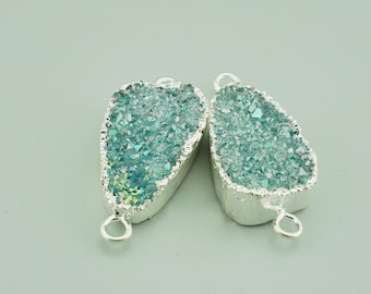 2pcs 50x25mm Green Gold Framed Resin Druzy Charm Pendant Resin Connector Fuchsia Glitter F004