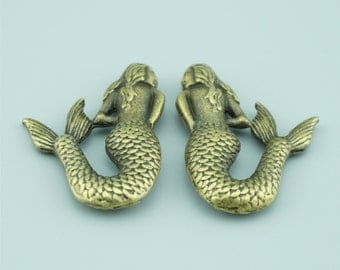10pcs 37x26mm Antique Bronze Mermaid Charm Pendants ZLJ009
