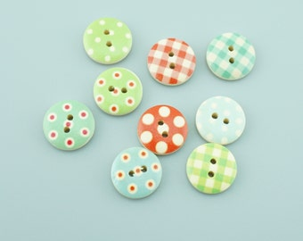 100pcs 15mm Mixed Colors Round Wood Buttons,Cartoon Wooden Buttons NK002