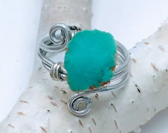 Raw Turquoise Ring - Rough Turquoise Silver Wire Ring - Silver Wire Ring - Turquoise Stone - Raw Turquoise Stone - Natural Stone Jewelry