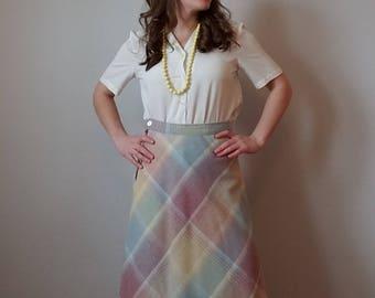Pastel Plaid Light Wool A-line Skirt