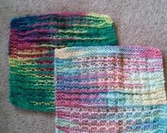 Set if 2 colorful knit dishcloths