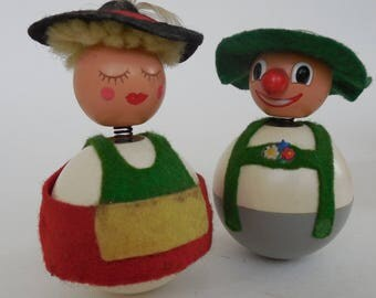 Roly Poly, Bobble Head People, Little Man and Woman Made in Western Germany, Vintage
