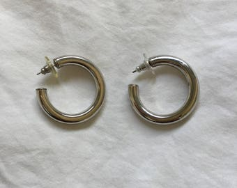 Vintage Silver Medium Sized Thick Hoops