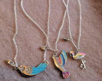 Dainty silver necklace with different type of birds