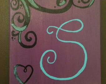 MADE TO ORDER Custom Initial Canvas