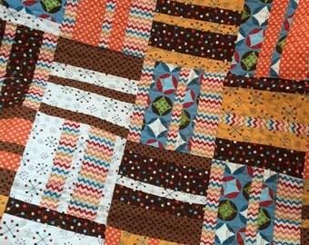 Baby Owl Quilt, Baby Boy Quilt, Brown, Blue, Orange, Chevron Quilt, Baby Blanket, PolkaDot Quilt, Baby Girl, Owls, Nursery Bedding, Bedding