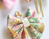 Pink Floral Bow Charm Travelers Notebook
