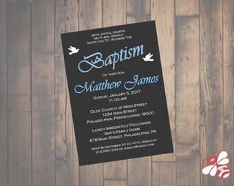 Boy Baptism or Christening Invitation