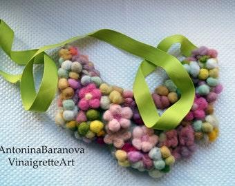 Felt beads balls and flowers Multicolor bib necklace Long beaded jewellery Spring Needle felted necklace Felt necklace Wool jewelry Felt