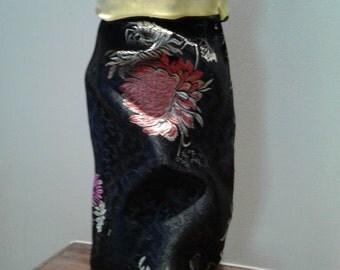 Black Oriental Print Wine Bag