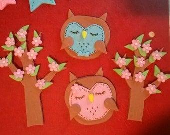Fondant Owl & Trees Cake Topper Set (4 pieces)
