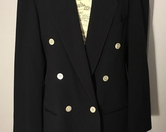 Vintage 1980s Dark Navy Blazer with Mother of Peal Buttons, Size 16 - Made in the U.K. by Planet