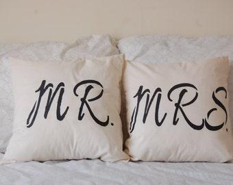 Mr. & Mrs. Throw Pillows - 16x16 (SET)