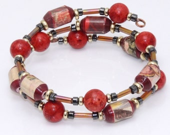 From the Heart (Upcycled Paper Bead Bracelet/SB0048)