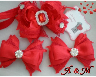 Red Baby headband, newborn headband Luxe headbands, Red hair bows,Set of 3 red bows ,