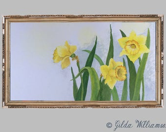 Springtime Daffodils Watercolor Print