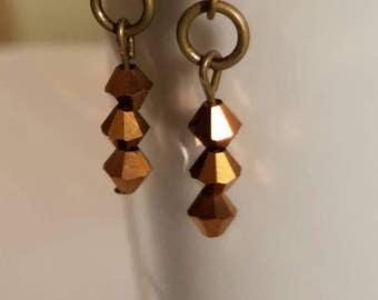 Bronze Earrings, Beaded drop earrings, Copper earrings, Handmade earrings, Fashion earrings